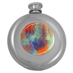 Abstract In Green, Orange, And Blue Round Hip Flask (5 Oz)