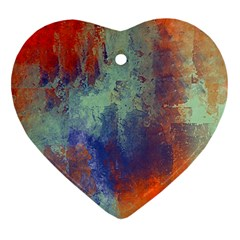 Abstract In Green, Orange, And Blue Heart Ornament (2 Sides)
