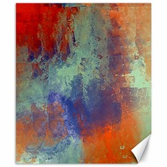 Abstract In Green, Orange, And Blue Canvas 8  X 10