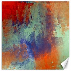 Abstract In Green, Orange, And Blue Canvas 16  X 16