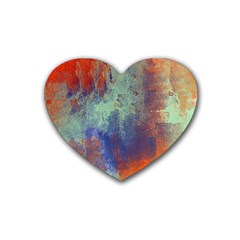 Abstract In Green, Orange, And Blue Rubber Coaster (heart)