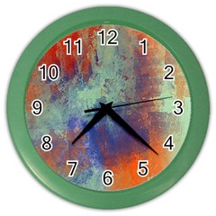 Abstract in Green, Orange, and Blue Color Wall Clocks