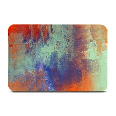 Abstract In Green, Orange, And Blue Plate Mats