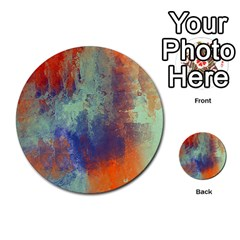 Abstract in Green, Orange, and Blue Multi-purpose Cards (Round)