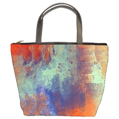 Abstract in Green, Orange, and Blue Bucket Bags