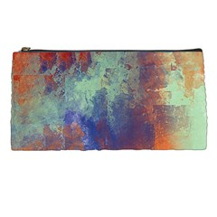 Abstract in Green, Orange, and Blue Pencil Cases