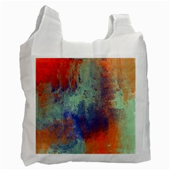 Abstract in Green, Orange, and Blue Recycle Bag (One Side)