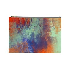 Abstract in Green, Orange, and Blue Cosmetic Bag (Large)