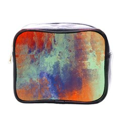 Abstract in Green, Orange, and Blue Mini Toiletries Bags