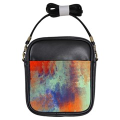 Abstract In Green, Orange, And Blue Girls Sling Bags