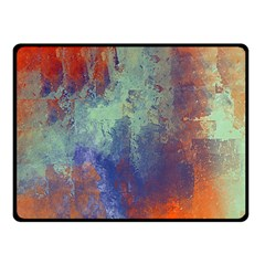 Abstract in Green, Orange, and Blue Fleece Blanket (Small)