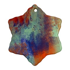 Abstract in Green, Orange, and Blue Snowflake Ornament (2-Side)