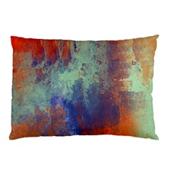 Abstract In Green, Orange, And Blue Pillow Cases (two Sides)