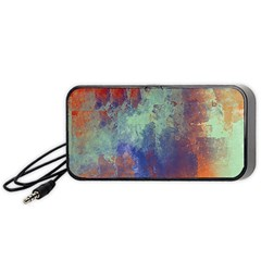 Abstract in Green, Orange, and Blue Portable Speaker (Black)