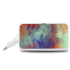 Abstract in Green, Orange, and Blue Portable Speaker (White)