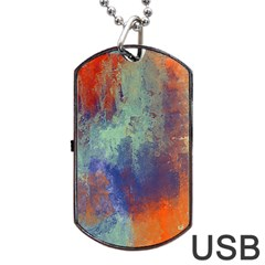 Abstract In Green, Orange, And Blue Dog Tag Usb Flash (one Side)