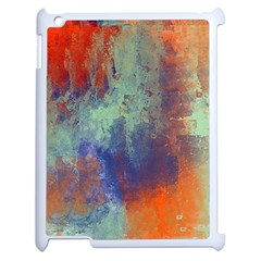 Abstract In Green, Orange, And Blue Apple Ipad 2 Case (white)