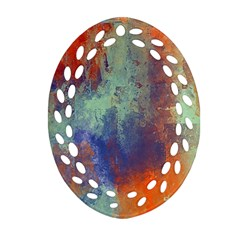 Abstract in Green, Orange, and Blue Oval Filigree Ornament (2-Side)