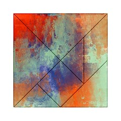 Abstract in Green, Orange, and Blue Acrylic Tangram Puzzle (6  x 6 )