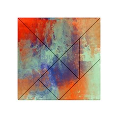 Abstract in Green, Orange, and Blue Acrylic Tangram Puzzle (4  x 4 )