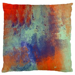 Abstract In Green, Orange, And Blue Large Cushion Cases (two Sides)