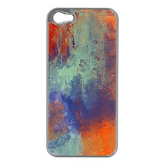 Abstract In Green, Orange, And Blue Apple Iphone 5 Case (silver)
