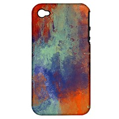 Abstract in Green, Orange, and Blue Apple iPhone 4/4S Hardshell Case (PC+Silicone)