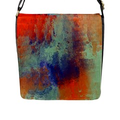 Abstract in Green, Orange, and Blue Flap Messenger Bag (L)