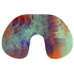 Abstract In Green, Orange, And Blue Travel Neck Pillows