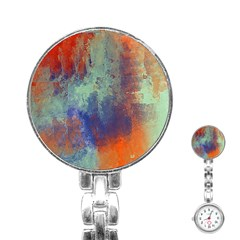 Abstract in Green, Orange, and Blue Stainless Steel Nurses Watches