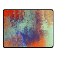 Abstract in Green, Orange, and Blue Double Sided Fleece Blanket (Small)