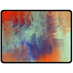 Abstract in Green, Orange, and Blue Double Sided Fleece Blanket (Large)