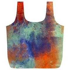 Abstract In Green, Orange, And Blue Full Print Recycle Bags (l)