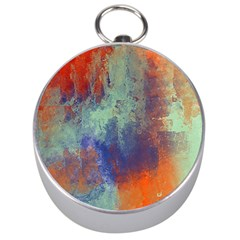 Abstract in Green, Orange, and Blue Silver Compasses