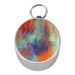 Abstract in Green, Orange, and Blue Mini Silver Compasses