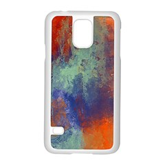 Abstract in Green, Orange, and Blue Samsung Galaxy S5 Case (White)