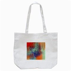 Abstract in Green, Orange, and Blue Tote Bag (White)