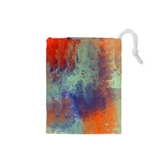 Abstract In Green, Orange, And Blue Drawstring Pouches (small)