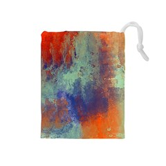 Abstract In Green, Orange, And Blue Drawstring Pouches (medium)