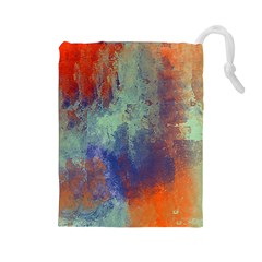 Abstract in Green, Orange, and Blue Drawstring Pouches (Large)