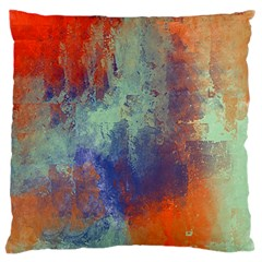Abstract in Green, Orange, and Blue Large Flano Cushion Cases (One Side)