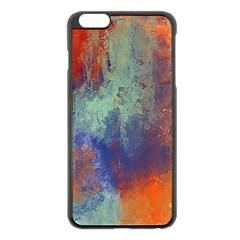 Abstract In Green, Orange, And Blue Apple Iphone 6 Plus Black Enamel Case