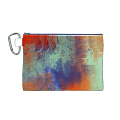 Abstract In Green, Orange, And Blue Canvas Cosmetic Bag (m)