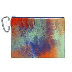 Abstract in Green, Orange, and Blue Canvas Cosmetic Bag (XL)