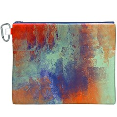 Abstract in Green, Orange, and Blue Canvas Cosmetic Bag (XXXL)