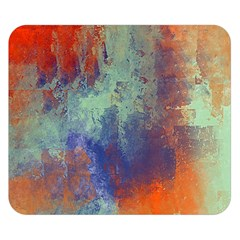 Abstract In Green, Orange, And Blue Double Sided Flano Blanket (small)