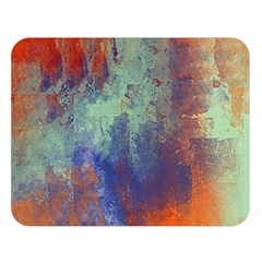 Abstract in Green, Orange, and Blue Double Sided Flano Blanket (Large)