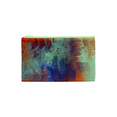 Abstract In Green, Orange, And Blue Cosmetic Bag (xs)