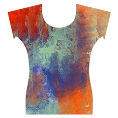Abstract in Green, Orange, and Blue Women s Cap Sleeve Top