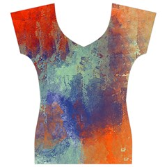 Abstract in Green, Orange, and Blue Women s V-Neck Cap Sleeve Top